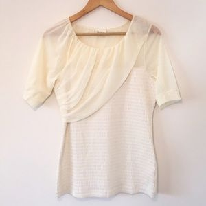 Anthropologie Deletta Cream Lace Knit Blouse